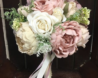 Luxury artificial rose coral gem rose artificial wedding luxury handmade artificial wedding bouquet rose gold bridal bouquet dusky pink wedding flowers mightylinksfo