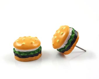 Hamburger Stud Earrings w/ Stainless Steel Posts - Kawaii Food Jewelry - Fast Food Burger Earrings - Miniature Food Jewelry