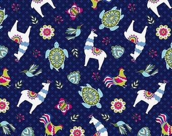 Patchwork fabric Riley Blake blue llama