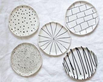 Catchall Black and White Trinket Dish Jewelry Dish Ready to Ship