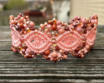 SALE Micro-Macrame Beaded Cuff Bracelet - Light Pink Mix
