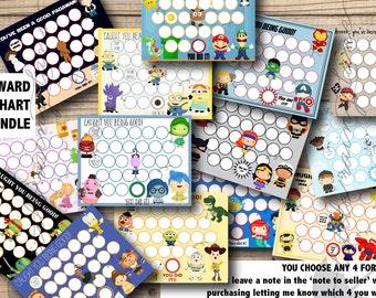 Potty training chart, Reward Chart , kids reward chart, 4 CHART BUNDLE - Printable