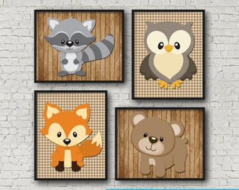"Woodland Creature Wall Art Poster Print 8x10"" Instant Download"
