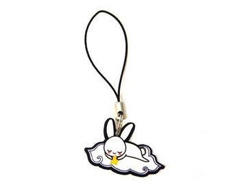 Cute Sleepy Bunny Phone Charm, Korean Sleeping White Rabbit, 3DS Accessory Strap, Easter Gift for her, Kawaii Japanese Usagi, Fairytale art