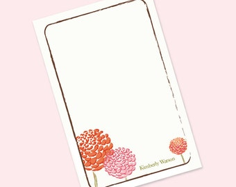 Personalized Notepad, Letterhead, Floral Stationery, Custom Notepad, Bridesmaid Gift, Gift for Her, To Do List, Pad - Dahlias Notepad