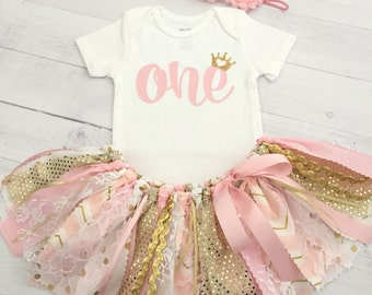 Pink and Gold Princess Theme Birthday Outfit with Headband, Princess Outfit with Pink and Gold Tutu/Pink and Gold Birthday