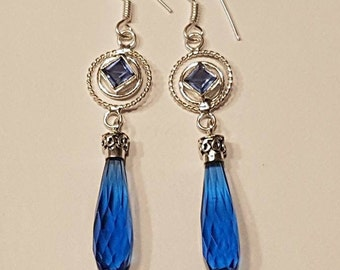 Very Dangle Drop Earrings Blue Topaz and Silver Plated 80mm Vintage Inspired Boho