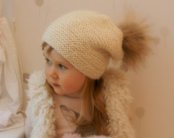KNITTING PATTERN slouchy hat Piia with a pom-pom (toddler, child, teen woman sizes)