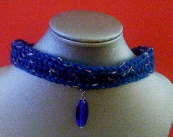 Denim blue crocheted choker