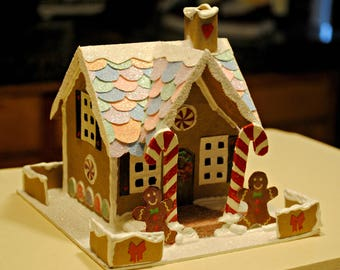 Gingerbread Glitter House, OOAK Putz House, Christmas Decoration, Glittered Candy Cane House, Hand Made Christmas House, X-mas Decor