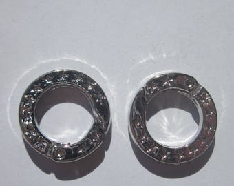 2 round 2 cm silver metal clasps (2045)