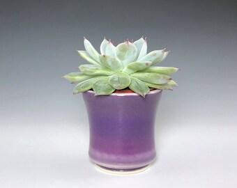 "Small Ceramic Planter, Purple Succulent Planter, Porcelain Plant Holder, Mini Indoor Planter, Pottery Planter With 2"" Removable Plastic Pot"
