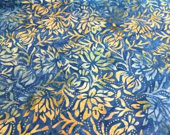 Timeless Treasures Batik Fabric, Blues Aquas by the half yard
