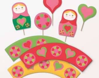 Russian Doll cupcake wrappers and toppers printable decoration kit. Download PDF DIY templates to print & make instantly - by Happythought.