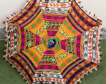 Handmade unique    Umbrella  with embroidery work ,decorative cotton parasol ,hand stitcher work  UMBRELLA
