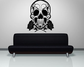Vinyl Wall Decal Sticker Skull and Roses 1167s