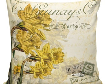 Easter Pillows, Daffodils, Spring Pillows, Throw Pillow Covers, Daffodil, Botanical Print, Burlap, Cotton,Spring Throw Pillow Covers #SP0209
