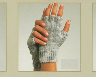 PDF Knitting Pattern / Gloves, Fingerless Gloves and Mittens/ 3 in 1 pattern / 8ply yarn / two needle gloves / PDF Pattern / Post FREE
