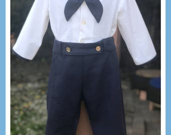 Baby Boy Sailor Outfit, Sailor Outfit for Boy, Nautical Baby Outfit, Button-On Suit 100% Cotton