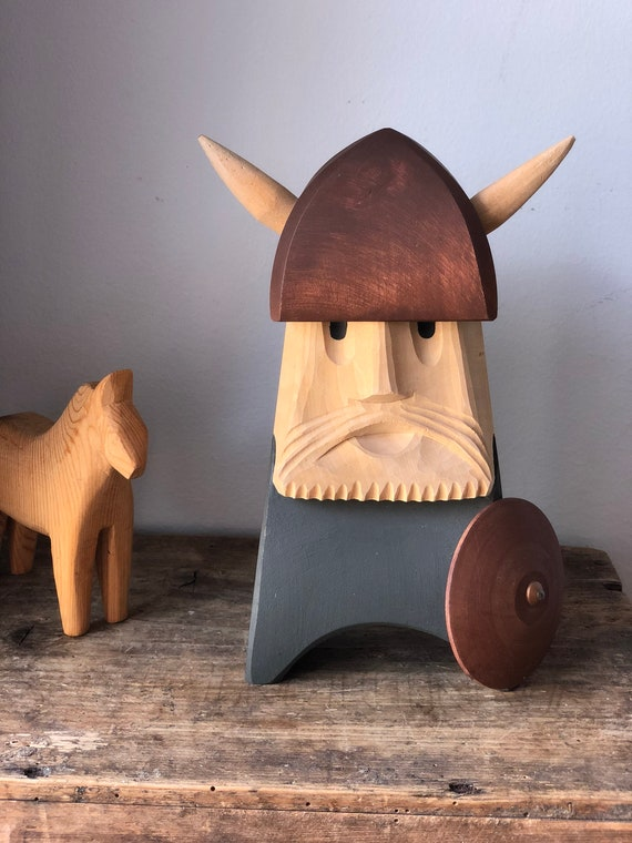 Midcentury modern hand carved wooden viking hand painted signed hygge wood carving 1960s