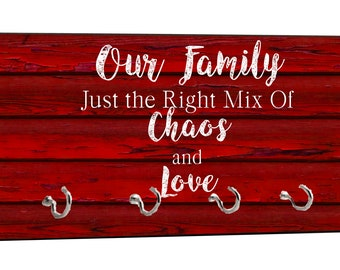 "Our Family - Chaos and Love - On Red Wood Print - 5"" by 11"" Key Hanger Rack - Household Decoration with Four Silvertone Hooks"