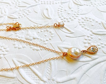 Bridal 14K Rose Gold Filled Necklace,Genuine Natural Champagne Coin Pearl,CZ Rose Gold Cubic Zirconia Bezels,Wedding Jewelry,Bridesmaids