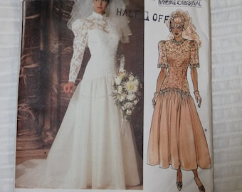 Vogue Original Bridal Gown- VOGUE 1660- 1980s Vintage Sewing Pattern- UNCUT