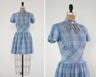 vintage blue 1950s cut out dress   plaid 50s summer dress   1950s cotton day dress