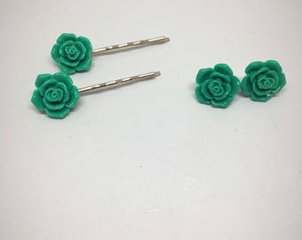 Turquoise teal rose hair pins and earrings - Matched set - Special deal - Resin roses - Nickel free earrings - Gift set - Gift for her