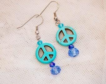 Peace sign earrings, peace earrings, peace jewelry, turquoise stone dangle earrings, peace sign dangle, peace symbol jewelry, hippie chic