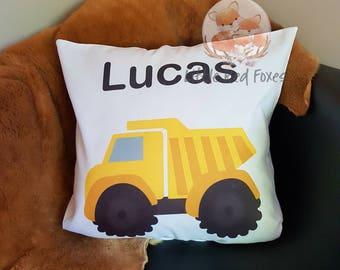 Dump truck personalised pillow, decorative cushion, construction pillow, personalised cushion cover,