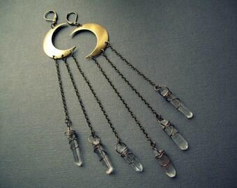 Crescent Moon Earrings - Raw Quartz Earrings - Raw Crystal Earrings - Long Crystal Earrings - Clear Quartz Jewelry - Crystal Dangle Earrings