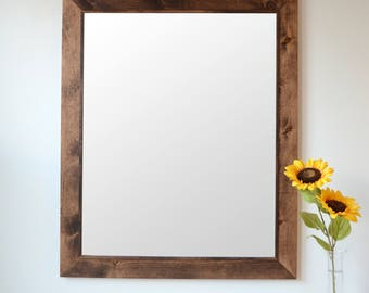 Wooden Mirror With Trim - Wall Mirror - Large Wood Mirror - Rustic Mirror - Free Shipping