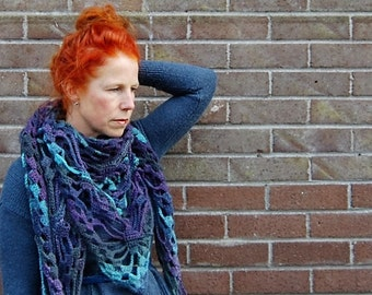 Shawl, gift, Christmas, wool, wrap, gift for her, shrug, triangle, wool, marbled, blue, scarf