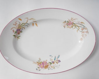 "Vintage Shabby Chic Floral Platter - porcelain china, unmarked - flowers, pink edge - 18"" x 12"" - housewares, home decor, collectible, china"