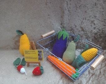 Crochet vegetables and fruit set, carrot, egg plant, corn, pears, strawberry, radish, play food, pretend food, role play, play kitchen