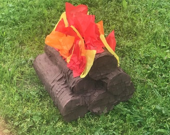 Campfire pinata / camping birthday party / camping activity ideas / camping pinata / lumberjack pinata