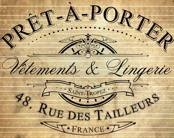 INSTANT DOWNLOAD - Vintage French Pret-a-Porter Advert in Shabby Chic Style #39