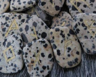 Hand Engraved Dalmatian Stone Rune Stones