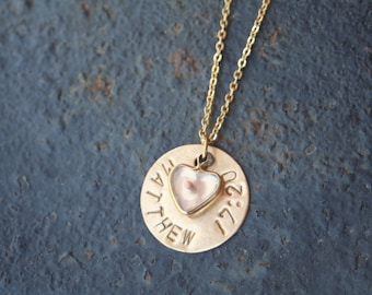 Faith the Size of a Mustard Seed Scripture Hand Stamped Brass Disc Gold Plated Heart Mustard Seed Necklace