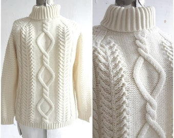 Vintage Fishermans Sweater, Cable Knit sweater, Chunky knit sweater, womens