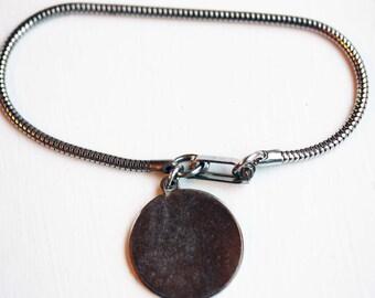 Silver Charm Bracelet, Circle Charm Bracelet, Engraveable Bracelet, Blank Bracelet, Silver Bracelet, Silver Chain Bracelet