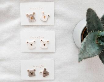 Porcelain & Gold Bear Earrings