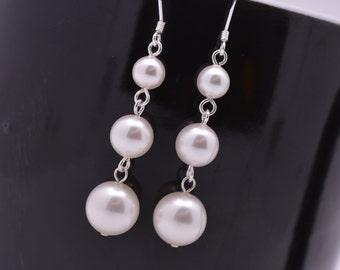 Pearl Drop Bridal Earrings, Long Pearl Earrings, Sterling Silver Earrings, Swarovski Pearl Bridesmaid Earrings 0287