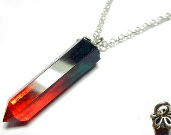 Resin Crystal Pendant - Two Tone Dreamweaver - 22 Inch Sterling Silver Necklace