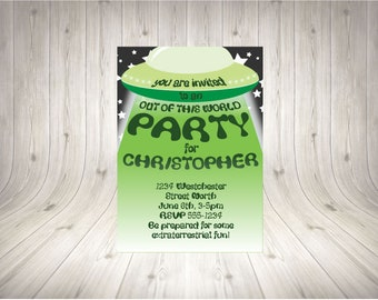 CUSTOMISABLE UFO Party Invitation GREEN