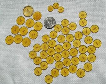 "Applejuice Bakelite Buttons 53 Lot Sew - Thru, Translucent ,Great Condition ,1/2"" , 5/8"" ,6/8"" , 7/8"" ,Golden Yellow,Clear ,Craft Supplies"