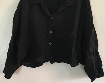 90s Black Linen Button Up