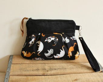 Cat Print Pleated Wristlet/ Pouch/ Clutch/-READY to Ship-