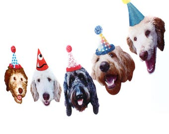 Labradoodle Dogs Birthday Garland - photo reproductions on felt - funny dog portraits birthday banner